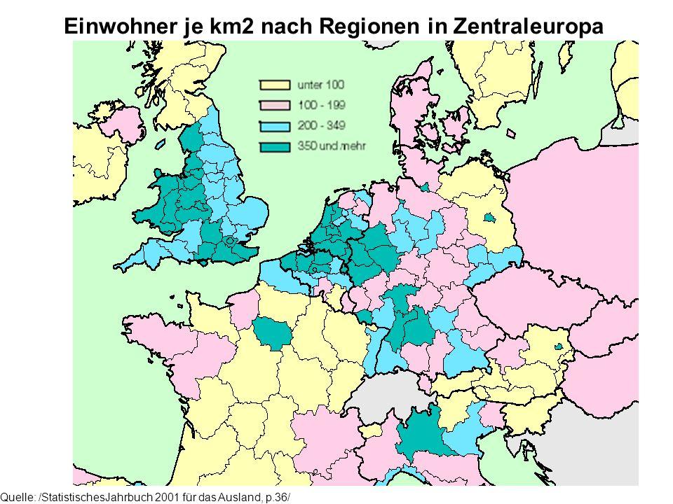 Einwohner je km2 nach Regionen in Zentraleuropa