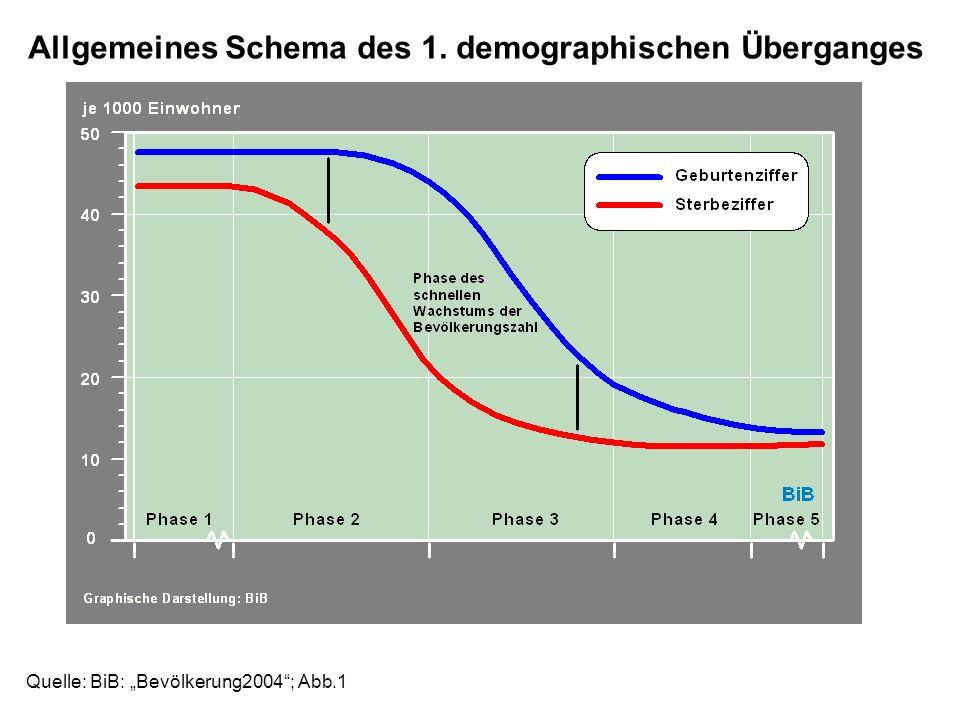 Allgemeines Schema des 1. demographischen Überganges