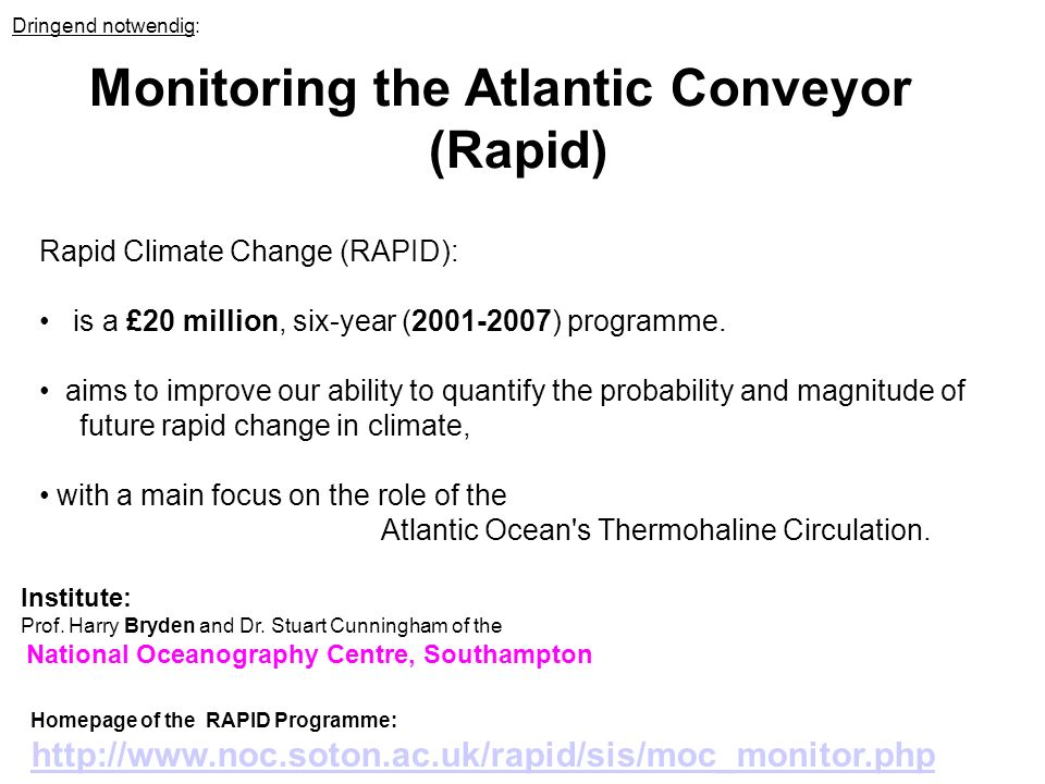 Monitoring the Atlantic Conveyor