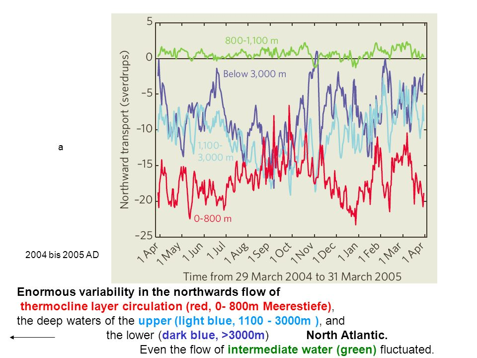 Enormous variability in the northwards flow of