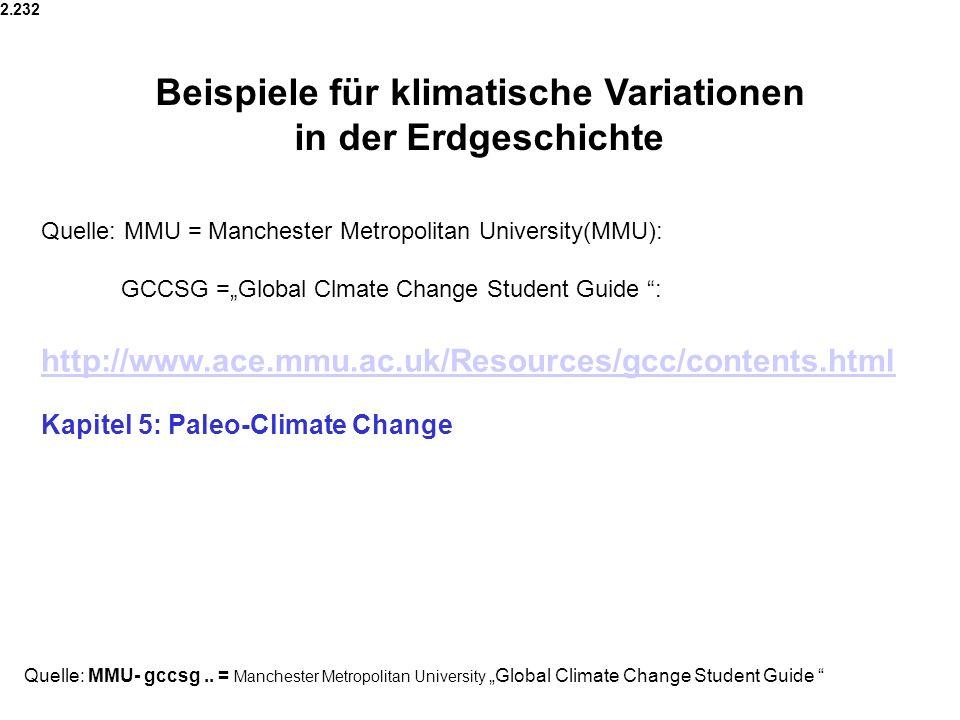 Beispiele für klimatische Variationen in der Erdgeschichte