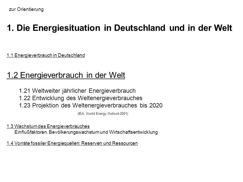 1. Die Energiesituation in Deutschland und in der Welt