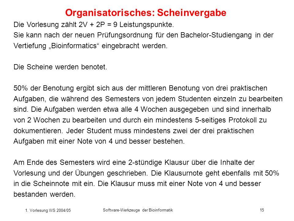 Organisatorisches: Scheinvergabe