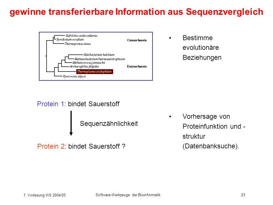 gewinne transferierbare Information aus Sequenzvergleich