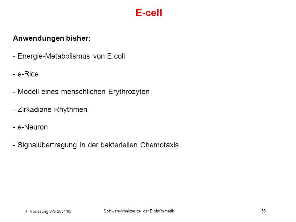 E-cell Anwendungen bisher: - Energie-Metabolismus von E.coli - e-Rice