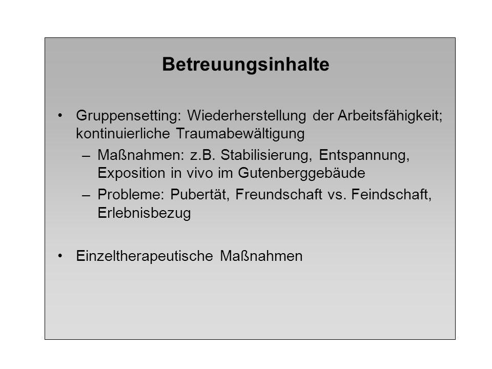 Betreuungsinhalte Gruppensetting: Wiederherstellung der Arbeitsfähigkeit; kontinuierliche Traumabewältigung.