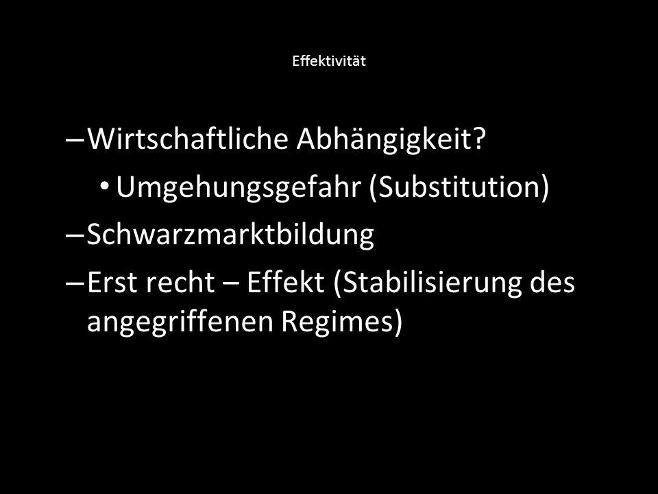 Wirtschaftliche Abhängigkeit Umgehungsgefahr (Substitution)