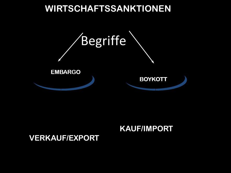 Begriffe WIRTSCHAFTSSANKTIONEN KAUF/IMPORT VERKAUF/EXPORT EMBARGO