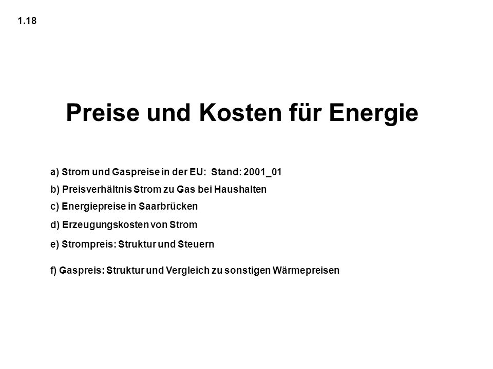 Preise und Kosten für Energie