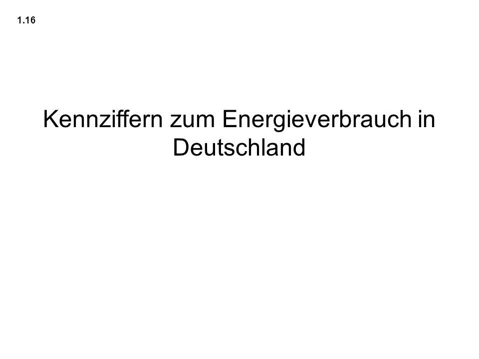 Kennziffern zum Energieverbrauch in Deutschland
