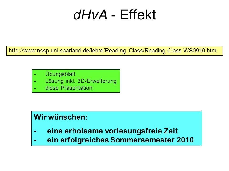 dHvA - Effekt Wir wünschen: - eine erholsame vorlesungsfreie Zeit