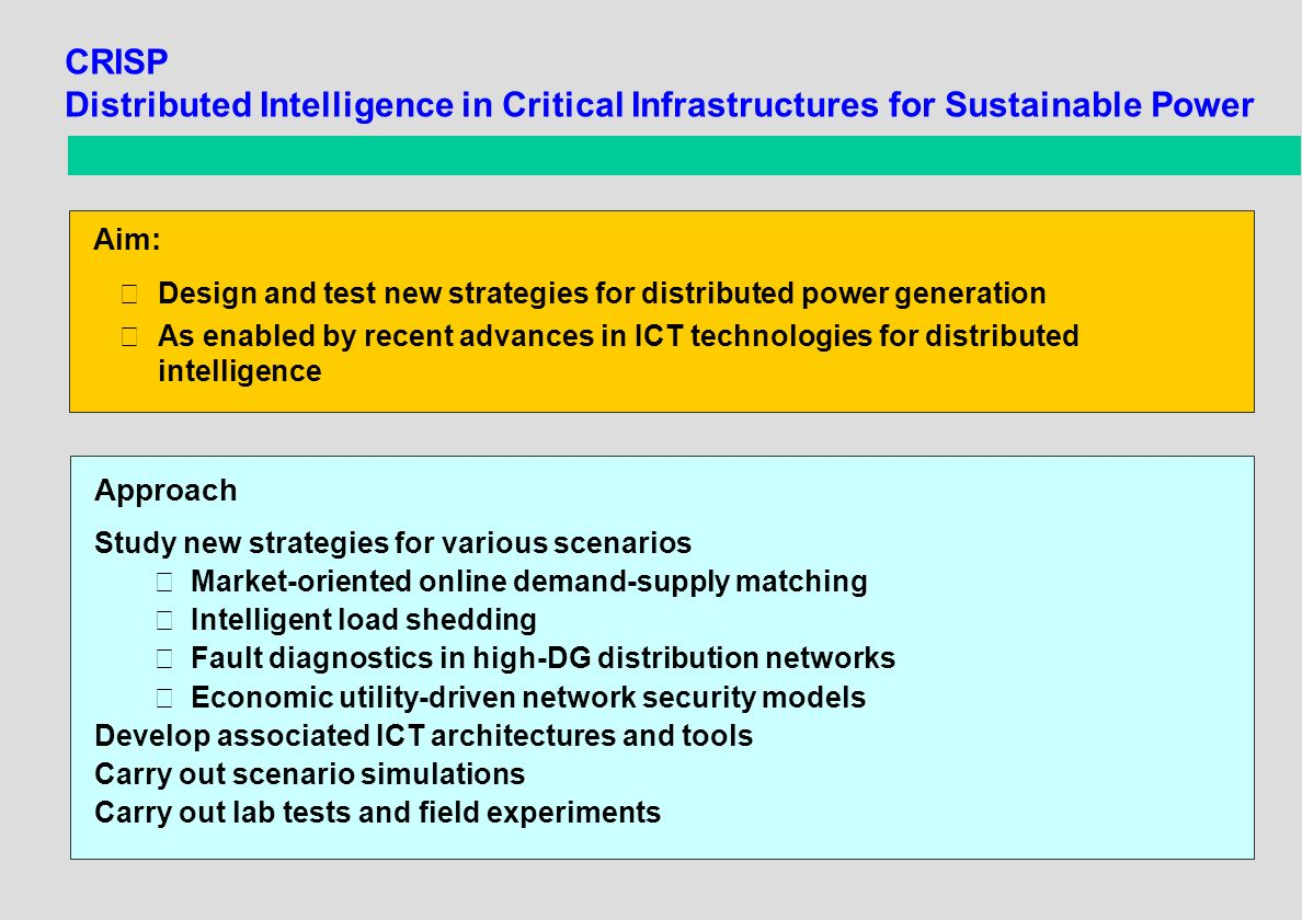 CRISP Distributed Intelligence in Critical Infrastructures for Sustainable Power