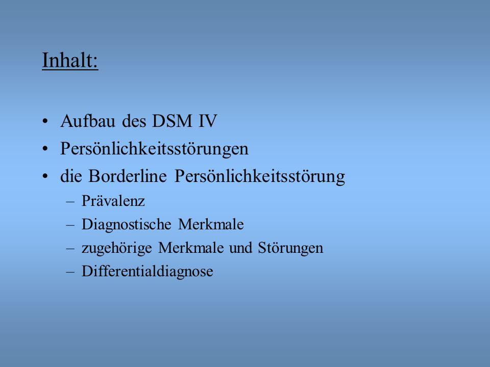 Inhalt: Aufbau des DSM IV Persönlichkeitsstörungen