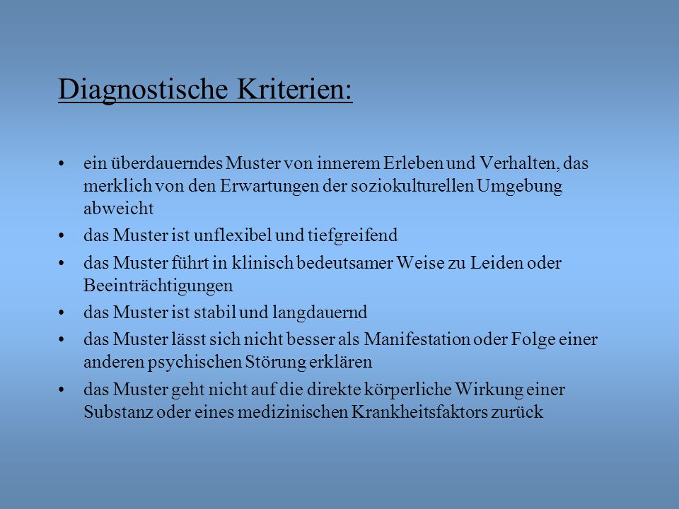 Diagnostische Kriterien:
