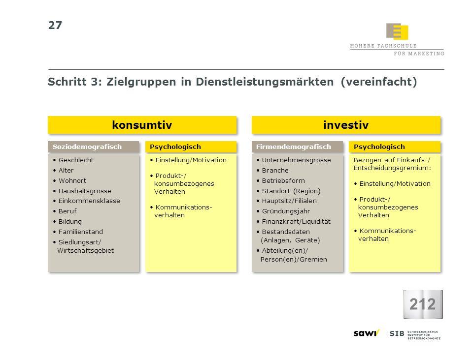 212 Schritt 3: Zielgruppen in Dienstleistungsmärkten (vereinfacht)