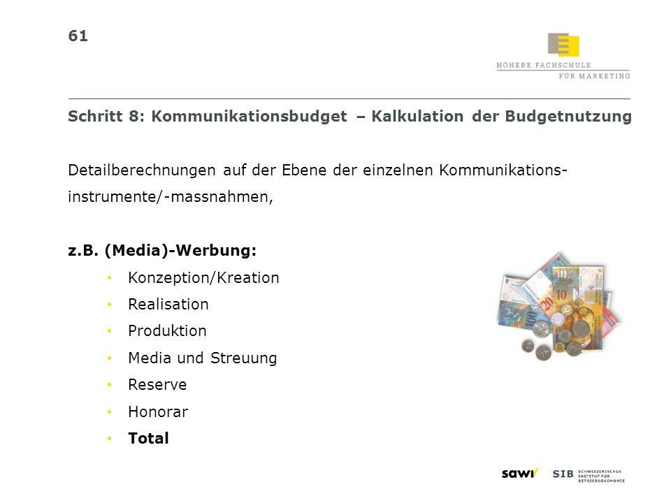 Schritt 8: Kommunikationsbudget – Kalkulation der Budgetnutzung