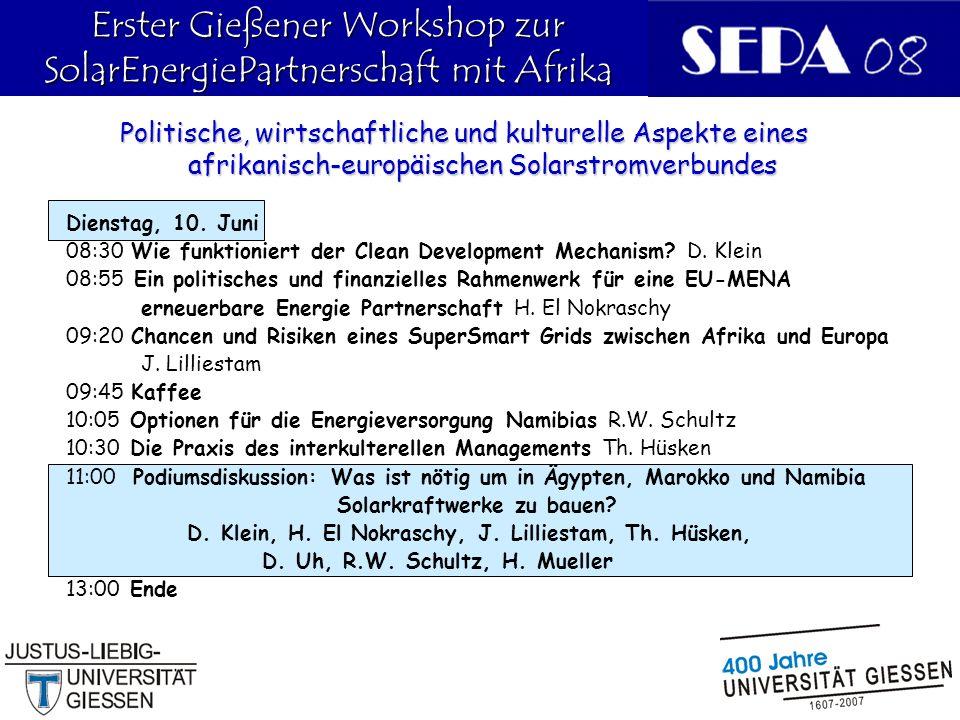 Erster Gießener Workshop zur SolarEnergiePartnerschaft mit Afrika