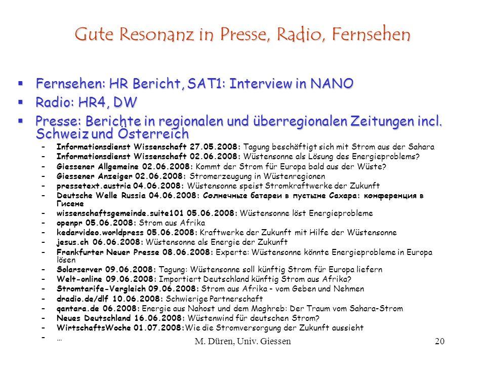 Gute Resonanz in Presse, Radio, Fernsehen