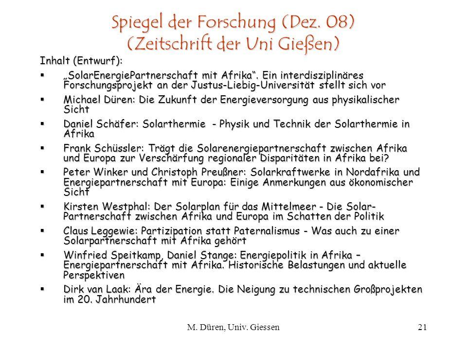 Spiegel der Forschung (Dez. 08) (Zeitschrift der Uni Gießen)