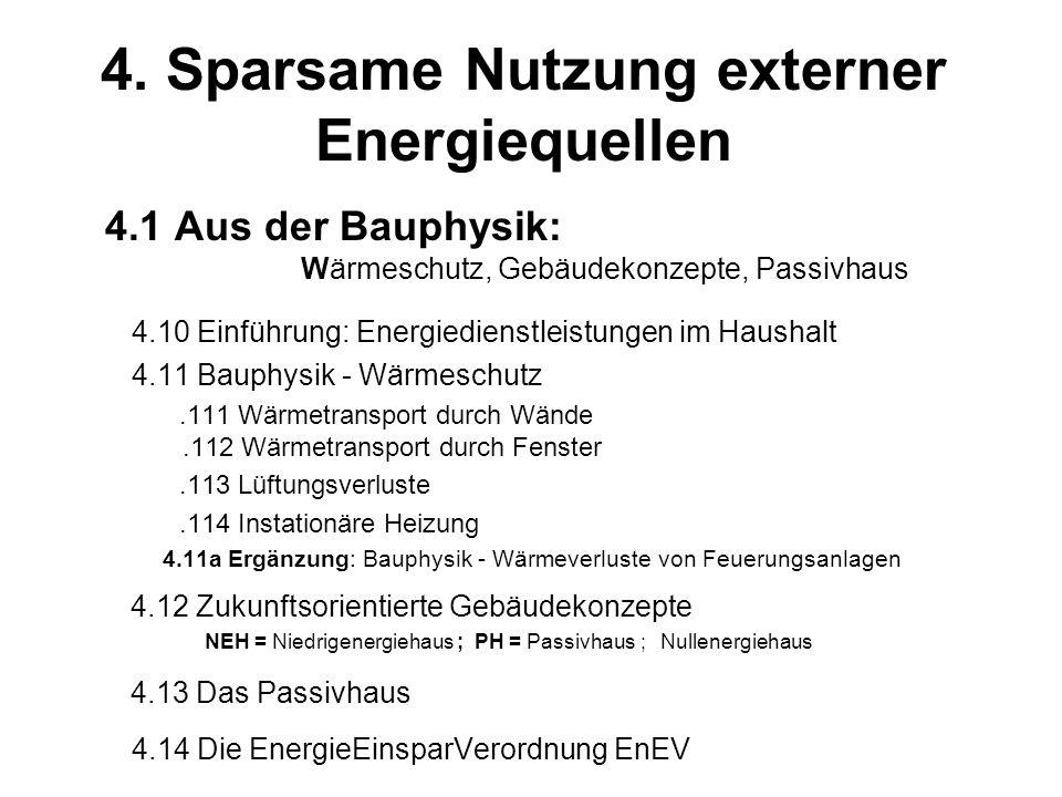 4. Sparsame Nutzung externer Energiequellen
