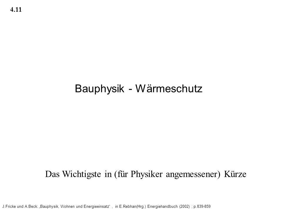 Bauphysik - Wärmeschutz
