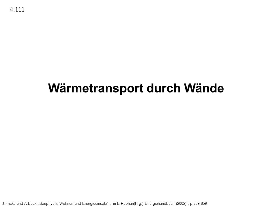 Wärmetransport durch Wände