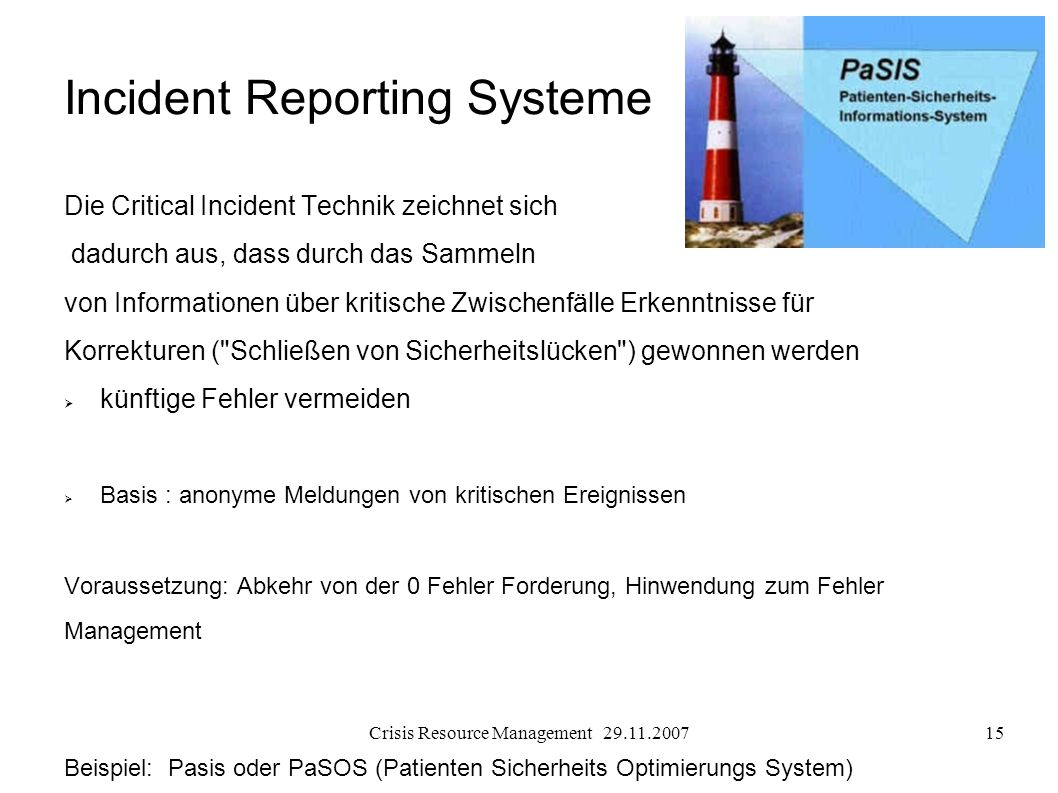 Incident Reporting Systeme
