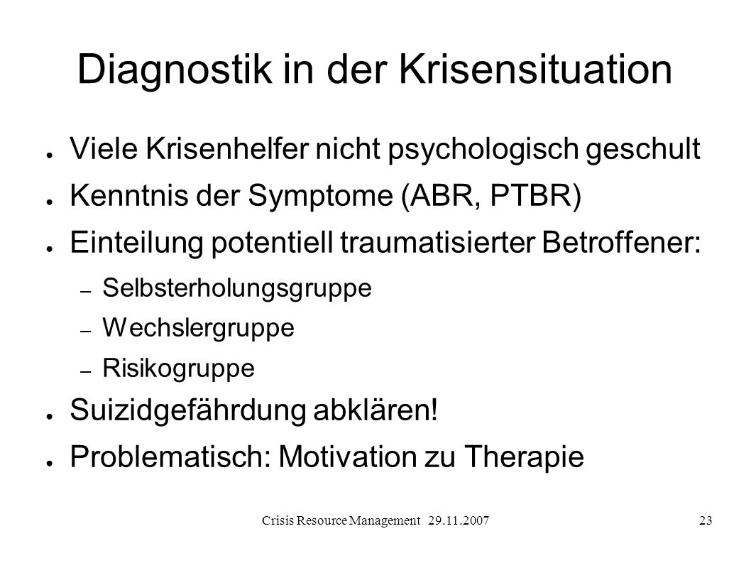 Diagnostik in der Krisensituation
