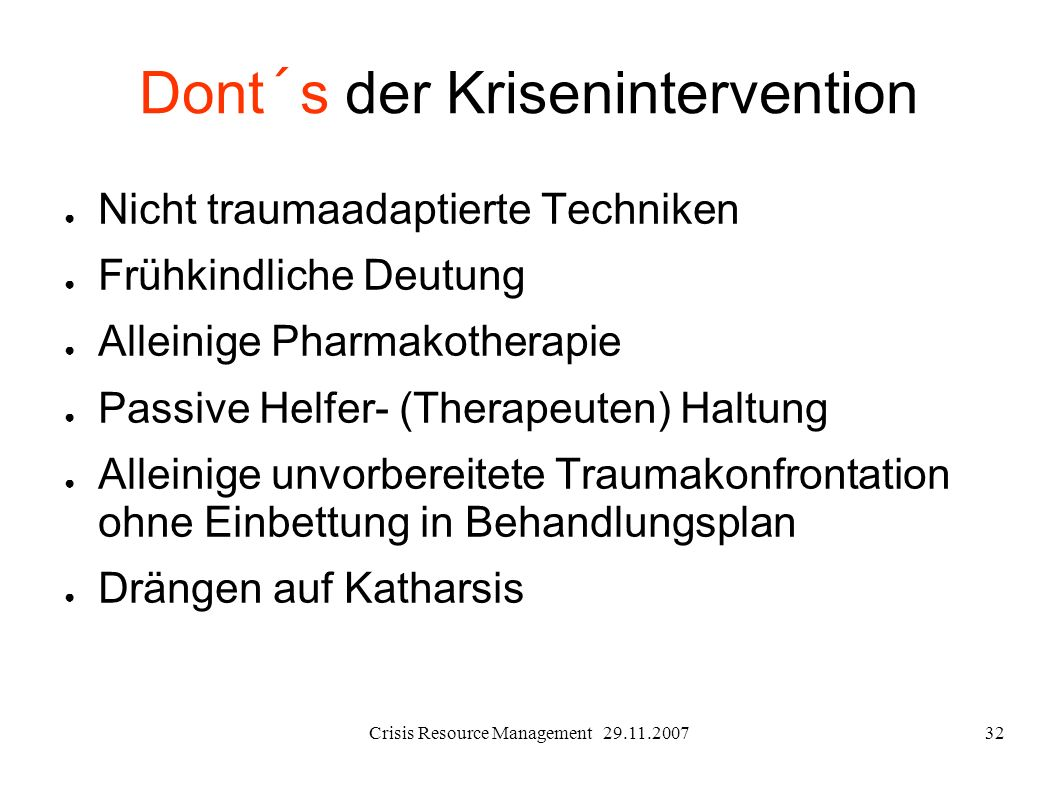 Dont´s der Krisenintervention