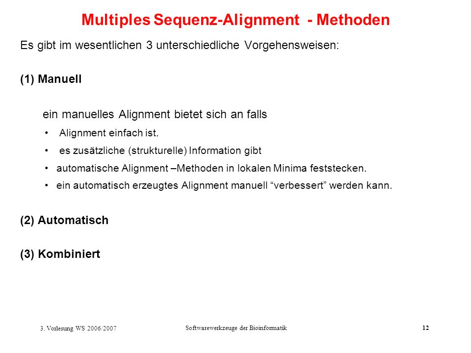Multiples Sequenz-Alignment - Methoden