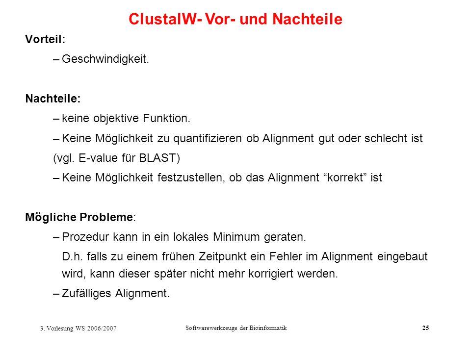 ClustalW- Vor- und Nachteile