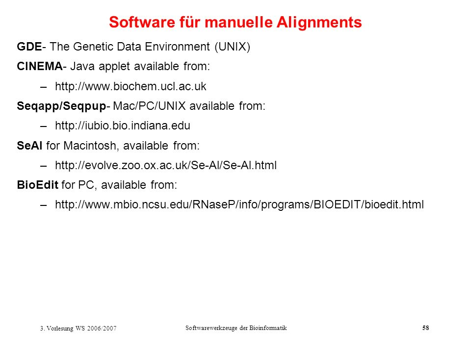 Software für manuelle Alignments