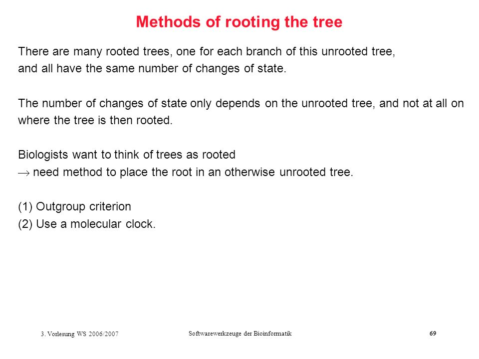 Methods of rooting the tree