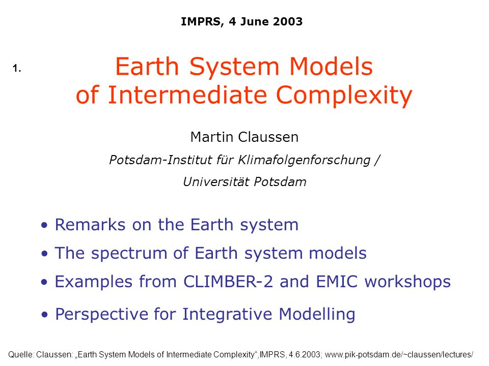of Intermediate Complexity