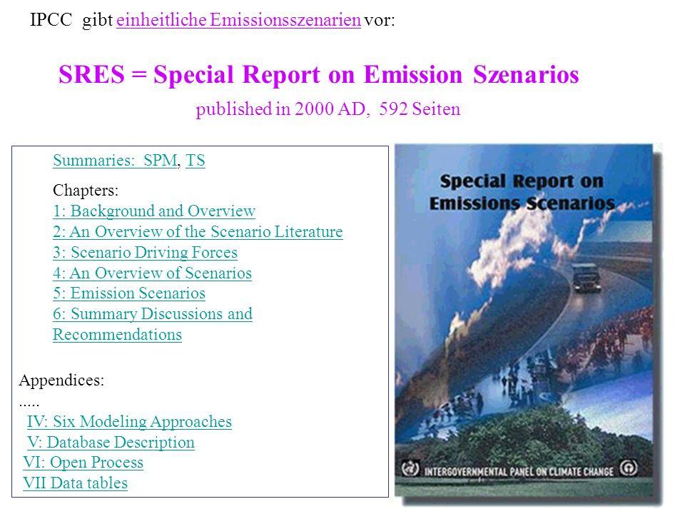 IPCC gibt einheitliche Emissionsszenarien vor: SRES = Special Report on Emission Szenarios published in 2000 AD, 592 Seiten
