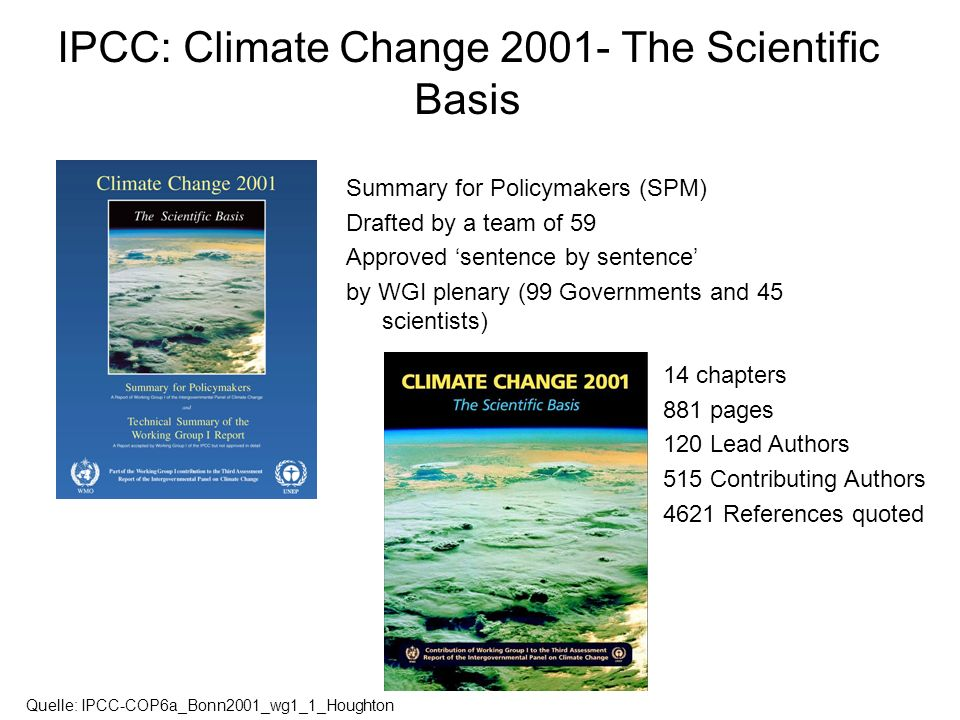 IPCC: Climate Change 2001- The Scientific Basis