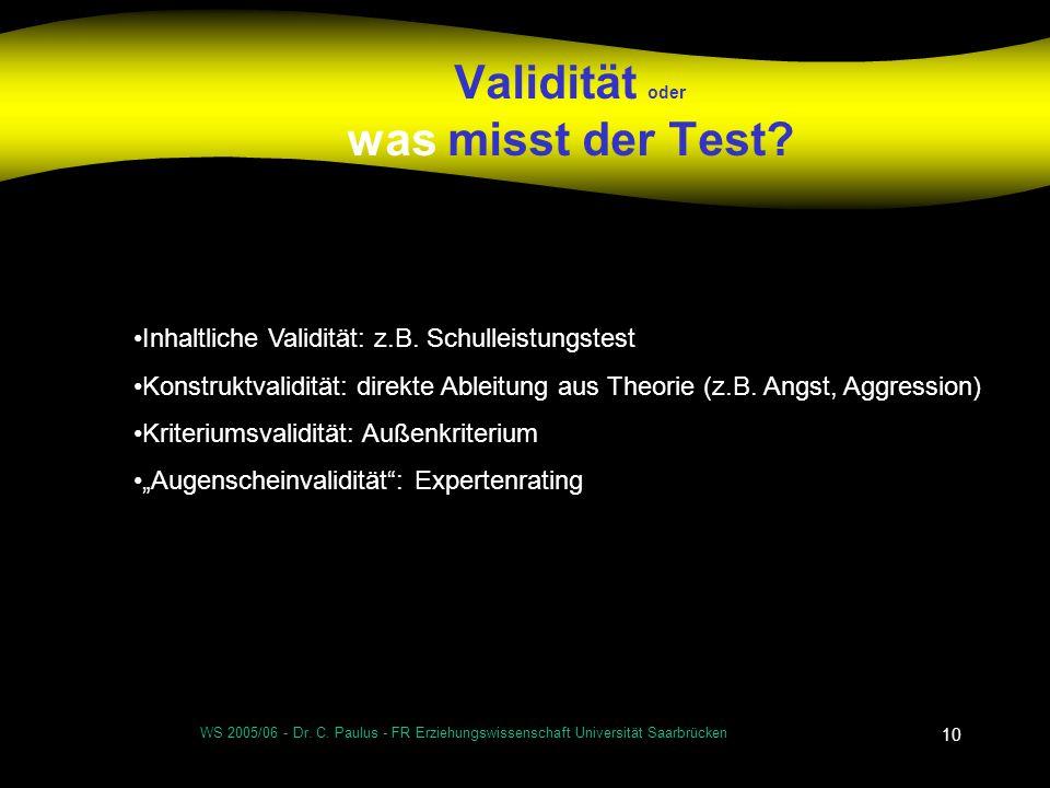 Validität oder was misst der Test
