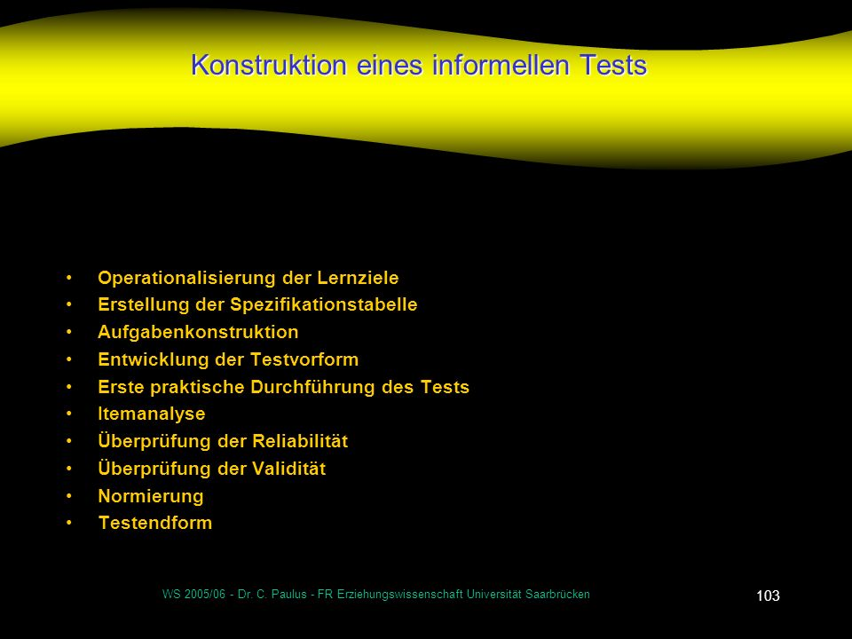 Konstruktion eines informellen Tests