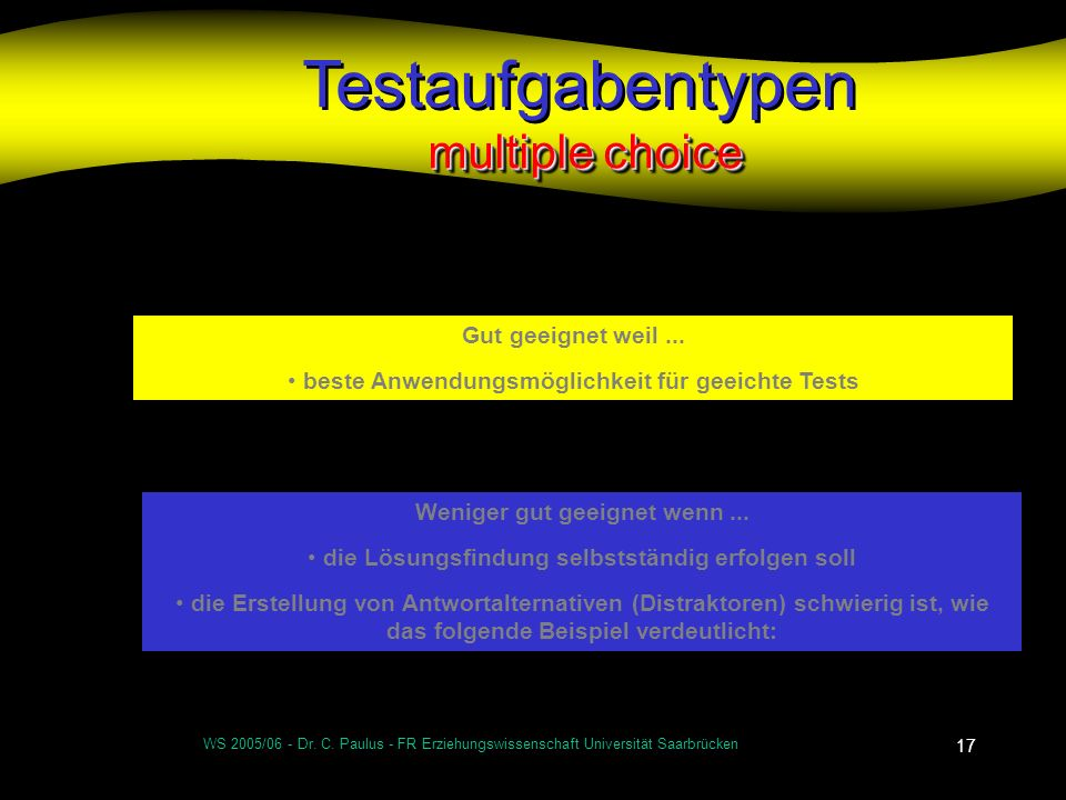 Testaufgabentypen multiple choice