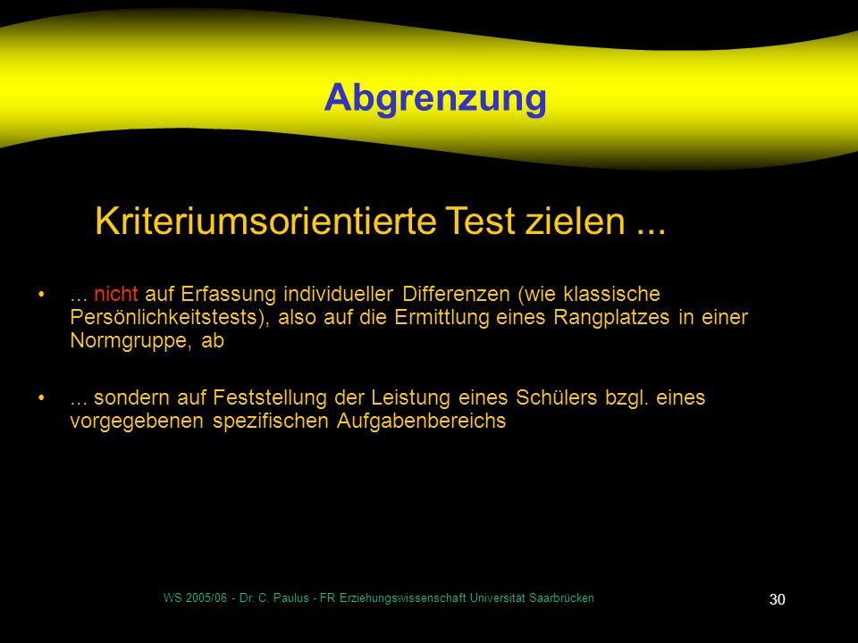 Kriteriumsorientierte Test zielen ...