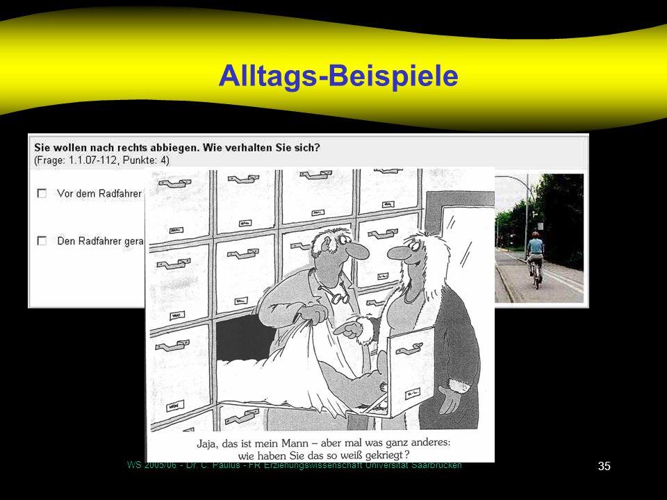 Alltags-Beispiele WS 2005/06 - Dr. C. Paulus - FR Erziehungswissenschaft Universität Saarbrücken