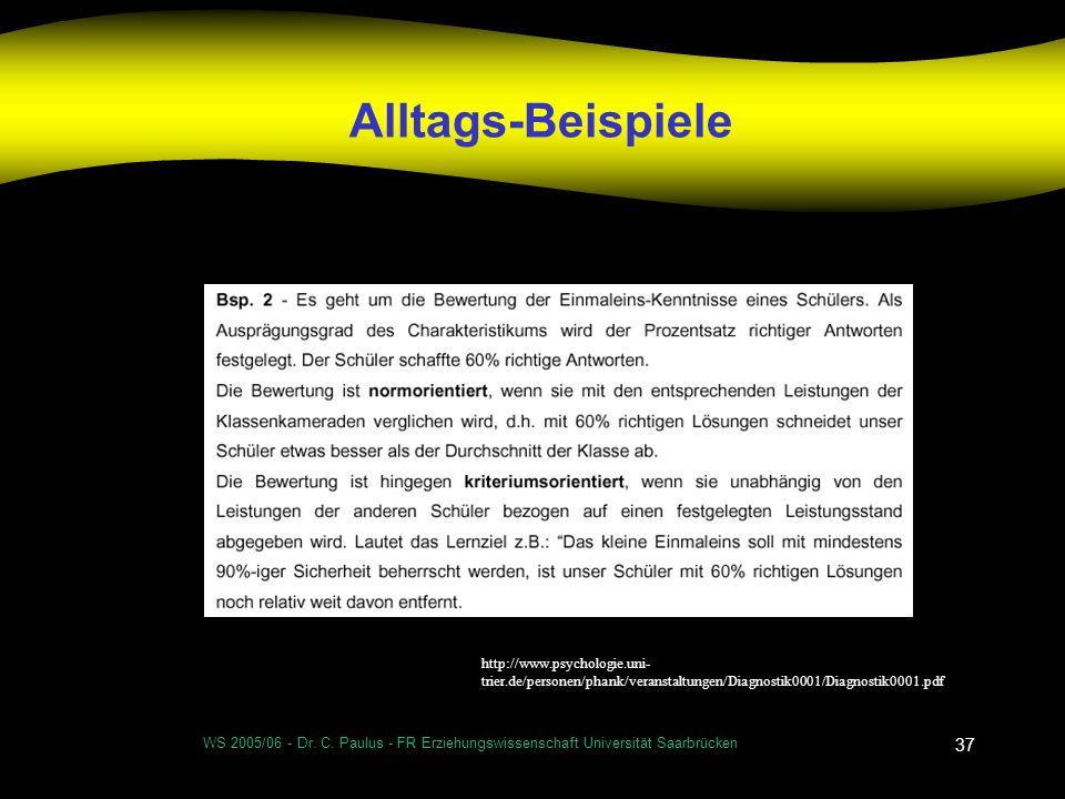 Alltags-Beispielehttp://www.psychologie.uni-trier.de/personen/phank/veranstaltungen/Diagnostik0001/Diagnostik0001.pdf.