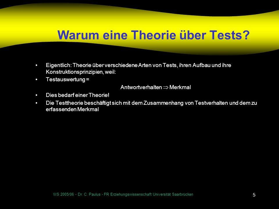 Warum eine Theorie über Tests