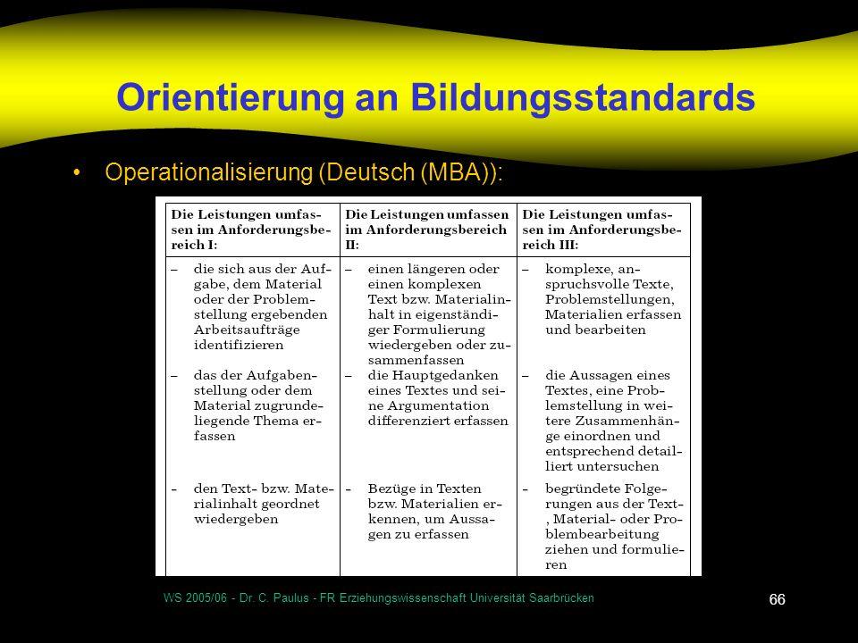 Orientierung an Bildungsstandards