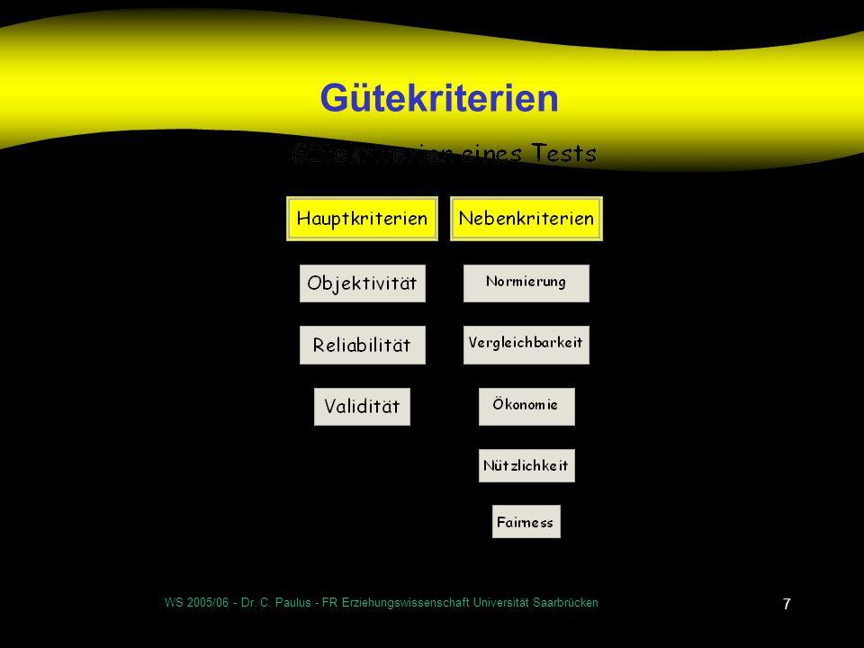 Gütekriterien WS 2005/06 - Dr. C. Paulus - FR Erziehungswissenschaft Universität Saarbrücken