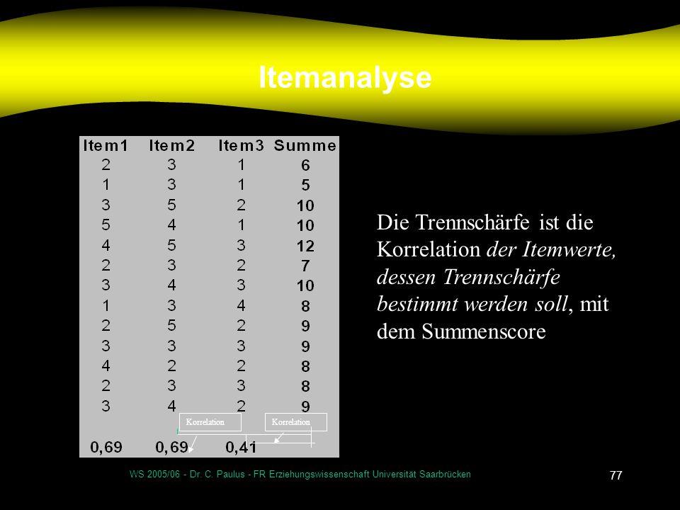 Itemanalyse Die Trennschärfe ist die Korrelation der Itemwerte, dessen Trennschärfe bestimmt werden soll, mit dem Summenscore.