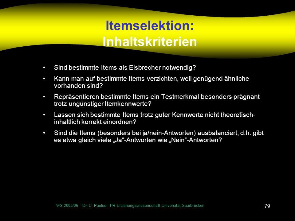 Itemselektion: Inhaltskriterien