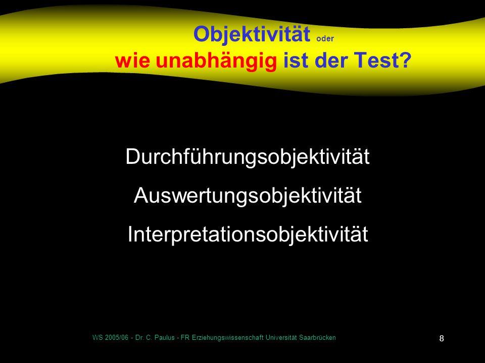 Objektivität oder wie unabhängig ist der Test