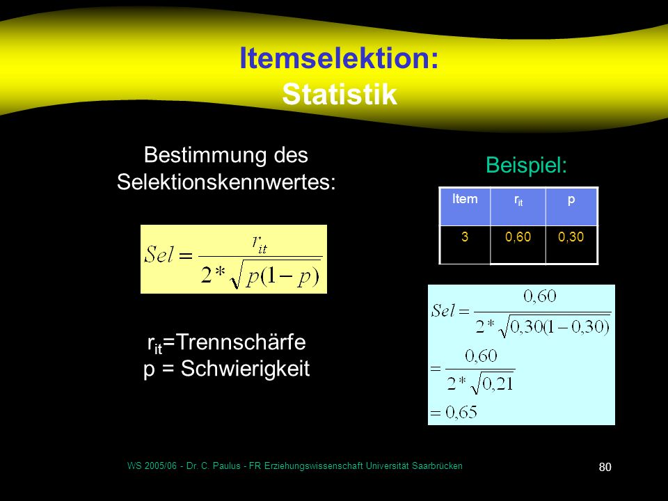 Itemselektion: Statistik