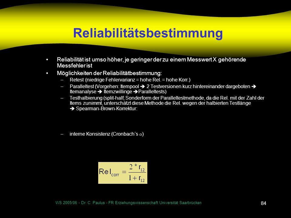 Reliabilitätsbestimmung
